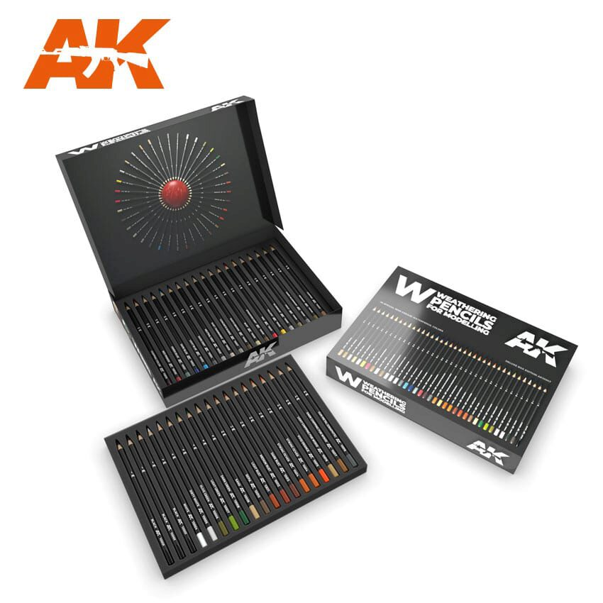 AK AK10047 WEATHERING PENCILS DELUXE EDITION BOX (37 waterperncil colors)