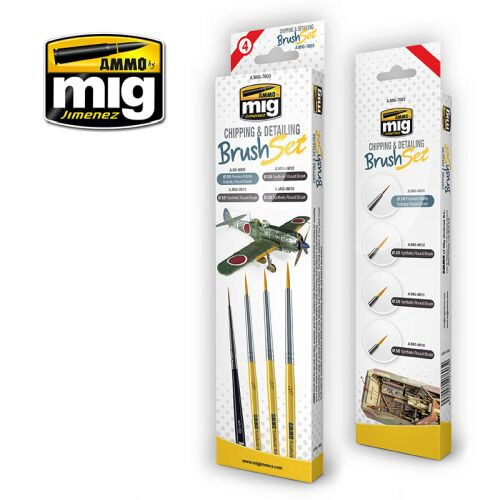 Ammo AMIG7603 CHIPPING AND DETAILING BRUSH SET