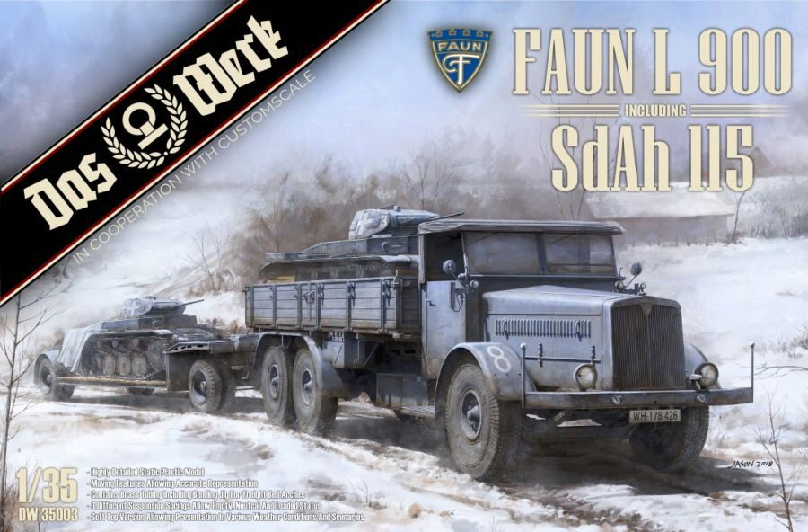 DAS WERK  35003 FAUN L 900 plus Sd.Ah.115 10t low bed trailer