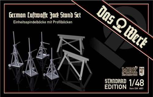 DAS WERK  48001 1/48 Luftwaffe Jack Stand Set with Saw Horses - Standard Edition