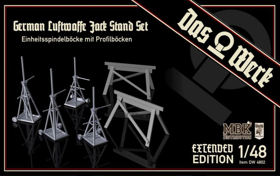 DAS WERK  48002 1/48 Luftwaffe Jack Stand Set with Saw Horses - Extended Edition