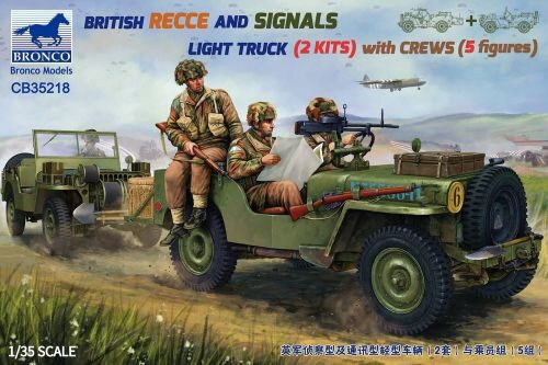 Bronco Models CB35218 BRITISH RECCE AND SIGNALS LIGHT TRUCK (2 KITS ) with CREWS