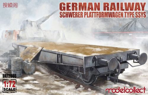 Modelcollect UA72086 German Railway Schwerer Plattformwagen Type ssys 1+1 pack