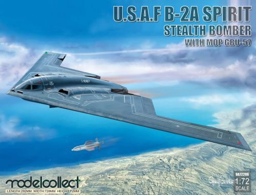 Modelcollect UA72206 USAF B-2A Spirit Stealth Bomber with Mop GBU-57