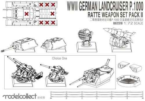 Modelcollect UA72310 WWII Germany Landcruiser p.1000 ratte weapon set pack II