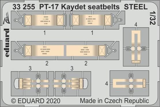Eduard Accessories 33255 PT-17 Kaydet seatbelts STEEL for Roden