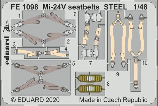 Eduard Accessories FE1098 Mi-24V seatbelts STEEL for Zvezda