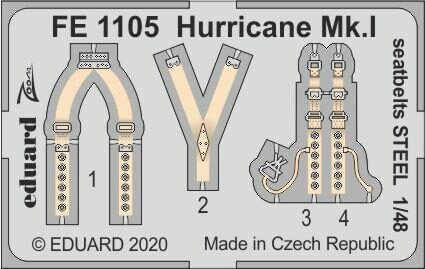 Eduard Accessories FE1105 Hurricane Mk.I seatbelts STEEL for Airfix