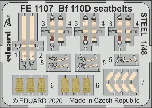 Eduard Accessories FE1107 Bf 110D seatbelts STEEL for Dragon