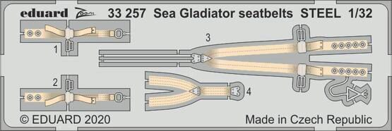 Eduard Accessories 33257 Sea Gladiator seatbelts STEEL for ICM