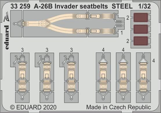 Eduard Accessories 33259 A-26B Invader seatbelts STEEL for Hobby Boss