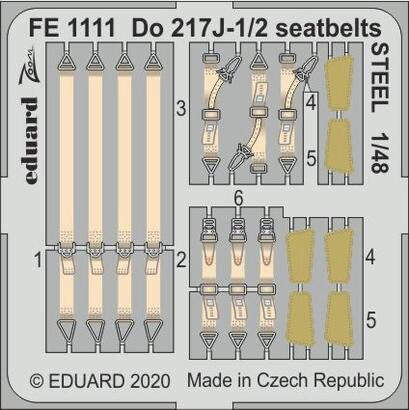 Eduard Accessories FE1111 Do 217J-1/2 seatbelts STEEL for ICM