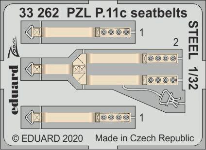 Eduard Accessories 33262 PZL P.11c seatbelts STEEL for IBG