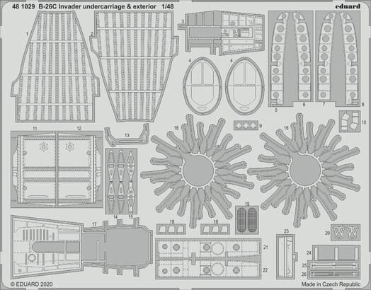 Eduard Accessories 481029 B-26C Invader undercarriage & exterior 1/48