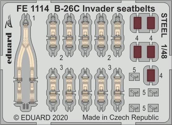 Eduard Accessories FE1114 B-26C Invader seatbelts STEEL for ICM