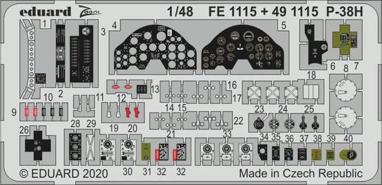 Eduard Accessories FE1115 P-38H for Tamiya