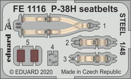 Eduard Accessories FE1116 P-38H seatbelts STEEL for Tamiya