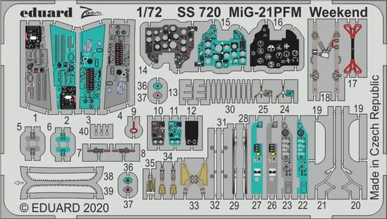 Eduard Accessories SS720 MiG-21PFM Weekend for Eduard