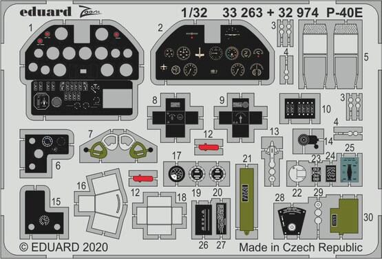 Eduard Accessories 32974 P-40E interior for Trumpeter