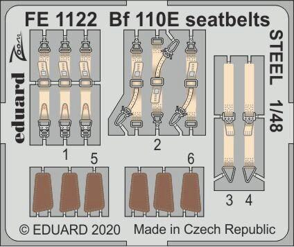 Eduard Accessories FE1122 Bf 110E seatbelts STEEL for Dragon