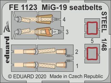 Eduard Accessories FE1123 MiG-19 seatbelts STEEL for Trumpeter/Eduard