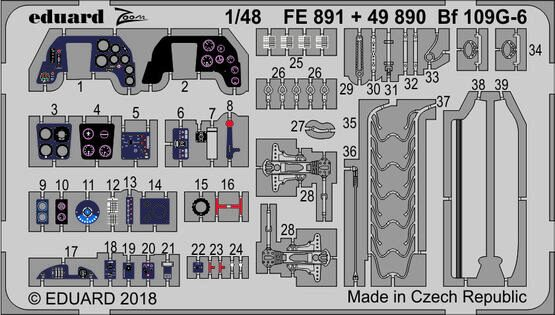 Eduard Accessories FE891 Bf 109G-6 for Tamiya