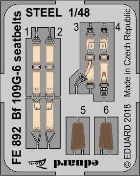 Eduard Accessories FE892 Bf 109G-6 seatbelts STEEL f.Tamiya