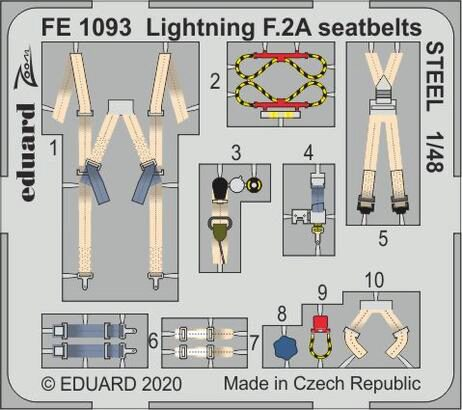 Eduard Accessories FE1093 Lightning F.2A seatbelts STEEL for Airfix