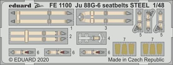Eduard Accessories FE1100 Ju 88G-6 seatbelts STEEL for Dragon