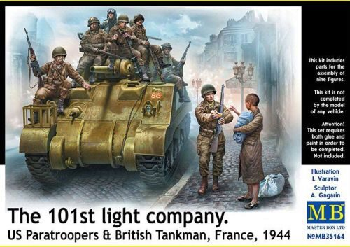 Master Box Ltd. MB35164 101th light company.US paratroopers and British tankmen