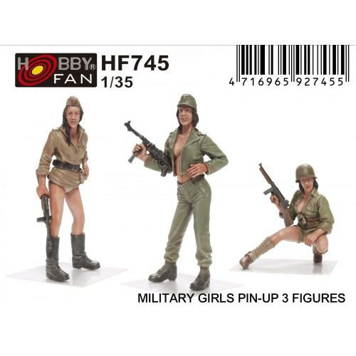 Hobby Fan HF745 Military Girls Pin-Up 3 Figures