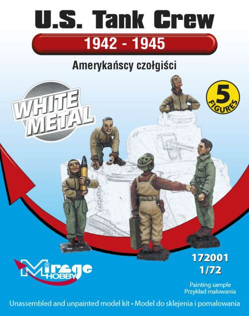 Mirage Hobby 172001 U.S.Tank Crew 1942-45(5 Figures/WhiteMet
