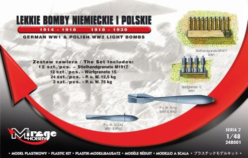 Mirage Hobby 248001 German WWI & Polish WWII Light Bombs German WWI & Polish WWII Light Aircraft Bombs 1914