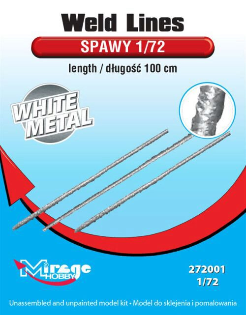 Mirage Hobby 272001 Weld Lines sc.1/72 length:100cm(WhiteMet