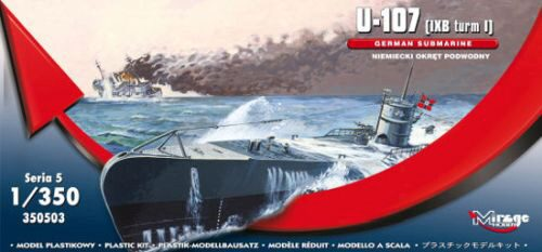 Mirage Hobby 350503 U-107 (IXB turm I) GERMAN SUBMARINE