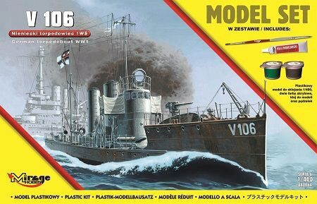Mirage Hobby 840064 V 106 German WWI Torpedo Ship(Model Set