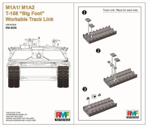 "Rye Field Model RM-5009 M1A1/ M1A2 T-158""Big Foot""Workable Track Link"