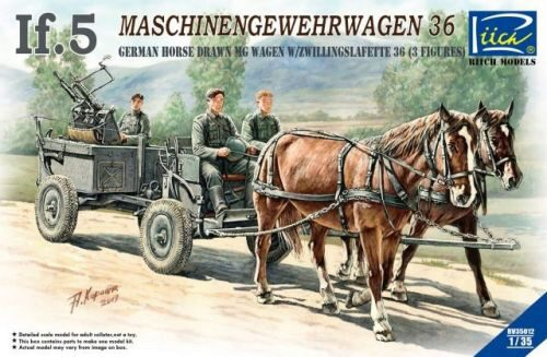 Riich Models RV35012 WWII German IF-5 Horse Drawn MG Wagon with Zwillingslafette