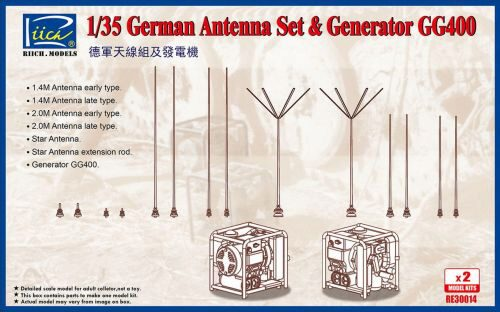 Riich Models RE30014 German Antenna Set & GG400 Generator (Model kits x2)