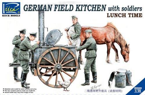 Riich Models RV35045 German Field Kitchen with Soliders(cook &three German soldiers,food containers