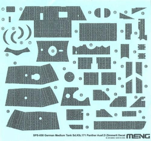 MENG-Model SPS-058 German Medium Tank Sd.Kfz.171 Panther Ausf.D Zimmerit Decal