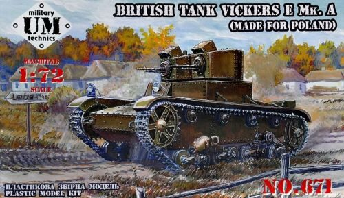 Unimodels UMT671 Vickers E Mk.A British tank(made f.Polan rubber tracks