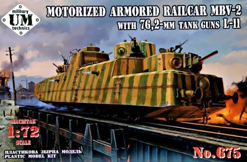 Unimodels UMT675 MBV-2 Motorized armored Railcar with 76,2-mm Tank guns L-11