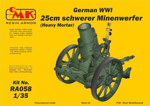CMK 129-RA058 German WWI 25cm schwerer Minenwerfer/ Heavy Mortar-All Resin kit