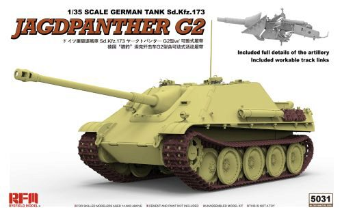Rye Field Model RM-5031 JAGDPANTHER G2 W/ WORKABLE TRACK LINKS & RM-5005 & RM5008 & RM5015 & RM5028