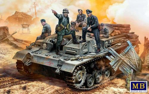 Master Box Ltd. MB35208 German StuG III Crew, WWII era.Their position is behind that forest