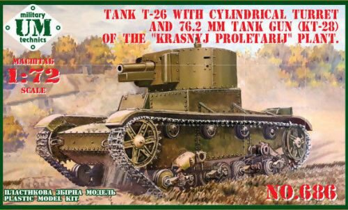 Unimodels UMT686 T-26 tank cylindrical turret and 76.2mm gun KT-28, rubber tracks