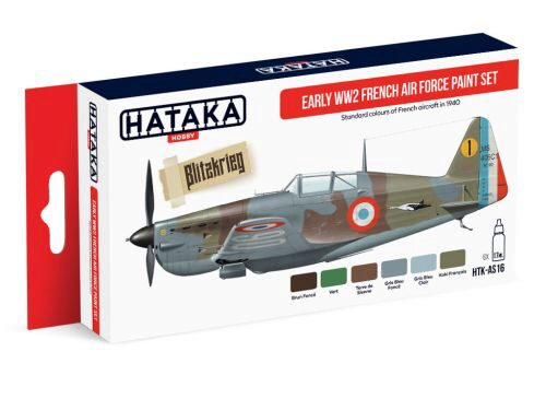 Hataka AS16 Airbrush Farbset (6 pcs) Early WW2 French Air Force paint set
