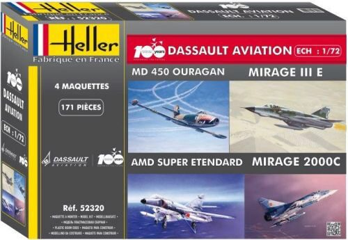 Heller 52320 Coffret 100 ANS Dassault Aviation(4model MirageIII+2000+S-Etendard+Ouragan
