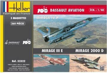 Heller 52322 Coffret 100 ANS Dassault Aviation(3 mode (MirageIVP,MirageIII,Mirage 2000D